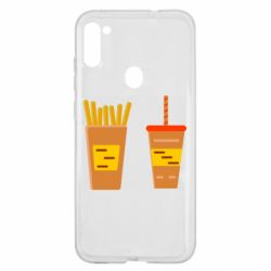 Чехол для Samsung A11/M11 French fries and cocktail flat vector
