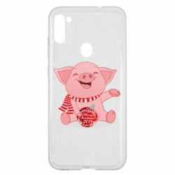 Чохол для Samsung A11/M11 Funny pig with a Christmas toy