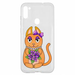 Чехол для Samsung A11/M11 Girl cat with flowers