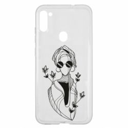 Чехол для Samsung A11/M11 Girl in flowers and glasses