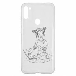 Чехол для Samsung A11/M11 Girl with a toy bunny