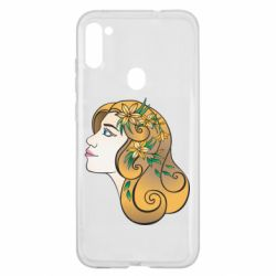Чехол для Samsung A11/M11 Girl with flowers in her hair art