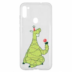 Чехол для Samsung A11/M11 Green llama with a garland