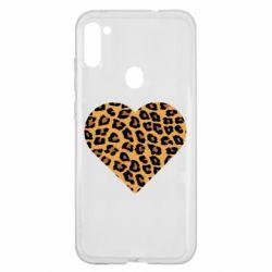 Чехол для Samsung A11/M11 Heart with leopard hair