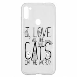Чехол для Samsung A11/M11 I Love all the cats in the world