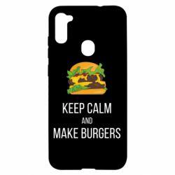 Чехол для Samsung A11/M11 Keep calm and make burger