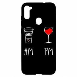 Чохол для Samsung A11/M11 Кофе и бокал с вином