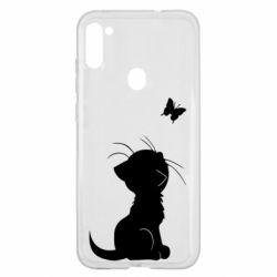 Чохол для Samsung A11/M11 Котик з метеликом