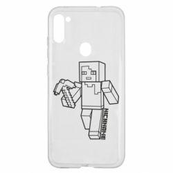 Чехол для Samsung A11/M11 Minecraft and hero nickname