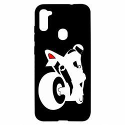 Чехол для Samsung A11/M11 Мотоциклист на спорте