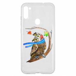 Чехол для Samsung A11/M11 Owl with a watercolor scarf