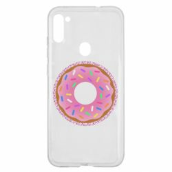Чохол для Samsung A11/M11 Pink donut on a background of patterns