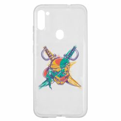 Чохол для Samsung A11/M11 Pirate skull and paint strokes