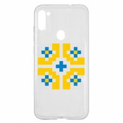 Чехол для Samsung A11/M11 Pixel pattern blue and yellow
