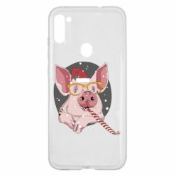 Чохол для Samsung A11/M11 Portrait of the pink Pig in a red Santa's cap