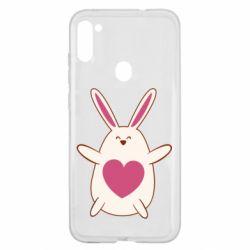Чехол для Samsung A11/M11 Rabbit with a pink heart