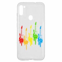 Чехол для Samsung A11/M11 Разноцветные гитары