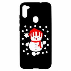 Чехол для Samsung A11/M11 Снеговик в шапке