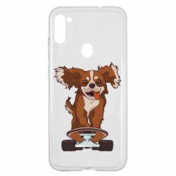 Чехол для Samsung A11/M11 Собака Кавалер на Скейте