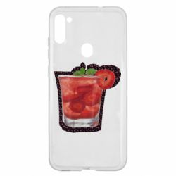 Чехол для Samsung A11/M11 Strawberry cocktail on a background of flowers