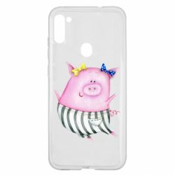 Чехол для Samsung A11/M11 Watercolor Pig with paper texture