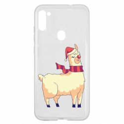 Чехол для Samsung A11/M11 Yellow llama in a scarf and red nose
