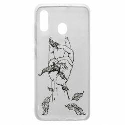 Чохол для Samsung A20 Hand with leafs