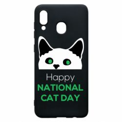 Чехол для Samsung A20 Happy National Cat Day
