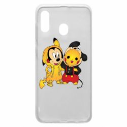 Чехол для Samsung A20 Mickey and Pikachu