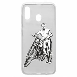 Чехол для Samsung A20 Mickey Rourke and the motorcycle