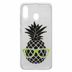 Чехол для Samsung A20 Pineapple with glasses