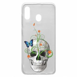 Чехол для Samsung A20 Skull and green flower