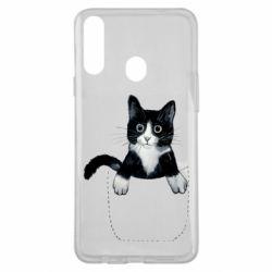 Чехол для Samsung A20s Art cat in your pocket