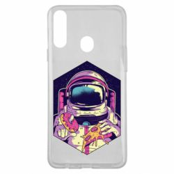 Чехол для Samsung A20s Astronaut with donut and pizza