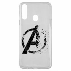 Чехол для Samsung A20s Avengers logotype destruction