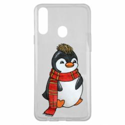 Чохол для Samsung A20s Baby penguin with a scarf