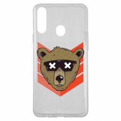 Чехол для Samsung A20s Bear with glasses