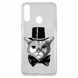 Чехол для Samsung A20s Black and white cat intellectual