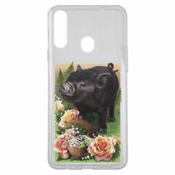 Чехол для Samsung A20s Black pig and flowers