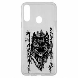 Чехол для Samsung A20s Black wolf with patterns