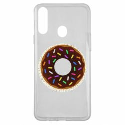 Чохол для Samsung A20s Brown donut on a background of patterns