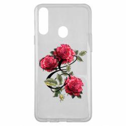 Чехол для Samsung A20s Буква Е с розами