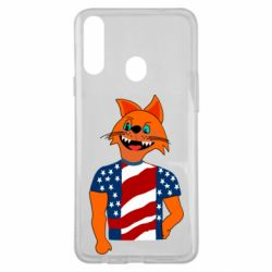 Чехол для Samsung A20s Cat in American Flag T-shirt