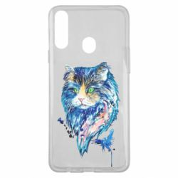 Чехол для Samsung A20s Cat in blue shades of watercolor