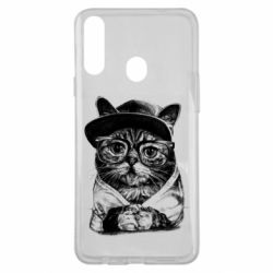 Чохол для Samsung A20s Cat in glasses and a cap