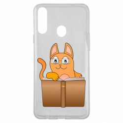 Чехол для Samsung A20s Cat in glasses with a book