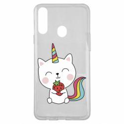Чохол для Samsung A20s Cat unicorn and strawberries