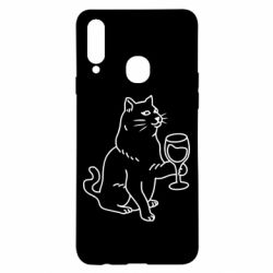 Чохол для Samsung A20s Cat with a glass of wine