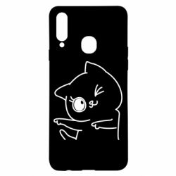 Чехол для Samsung A20s Cheerful kitten