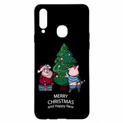 Чохол для Samsung A20s Christmas pigs decorate spruce